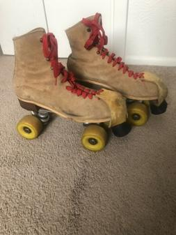 Vintage Riedell Red Wing Roller Skates Sz 9 Sure Grip Suede