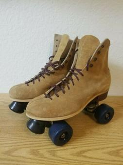 Vintage Riedell Red Wing Suede Roller Skates Chicago Plates