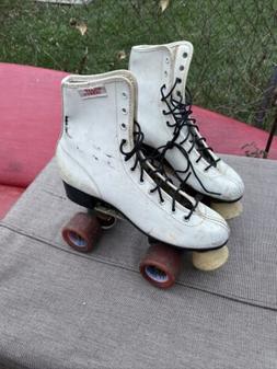 Vintage Roller Derby White Roller Skates Womens Size 8 Zinge