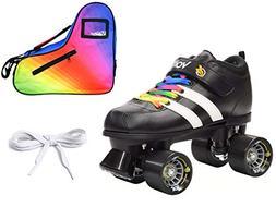 Riedell Volt Quad Derby Speed Roller Skate 3 Pc Rainbow Bund