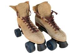 VTG Tan Suede Roller Skates Riedell Vintage 130L Sz 8 A Road