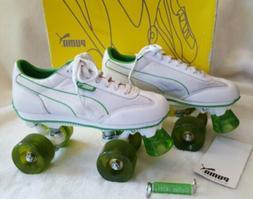 Vtg y2k PUMA White Green Roller Kitty Skates 7 Rollerskates