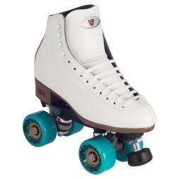 White Riedell Celebrity Outdoor Quad Roller Skates 62mm Ener
