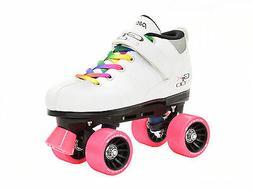 White Pacer Mach-5 GTX500 Quad Speed Roller Skates with Rain