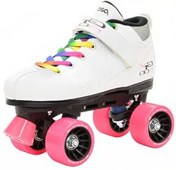 White Pacer Mach-5 GTX500 Quad Speed Roller Skates with Rain
