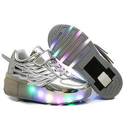 YSNJL Kids Wings Single Wheels Skate Shoe Fashion Roller Sne