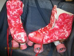 Women Red & White Roller Skates size 7,  heel to toe 9 1/ 2