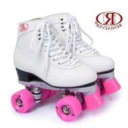 Women Roller Double Two Line Skates Skating White Shoes Pink
