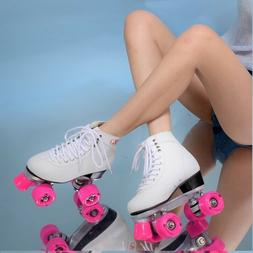 Women S Roller Double Two Line Skates Skating White Shoes Pi