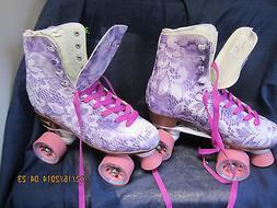 Women Size 6 Floral Purple & White Heel to toe   9  3/16in.