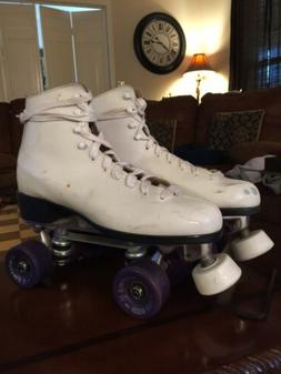 Womens Professional Roller Skates White Leather High Top Lac