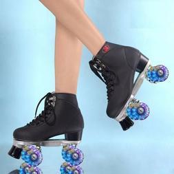 Womens Roller Skates Girls Rink Skate Light UP LED Quad 4 Wh