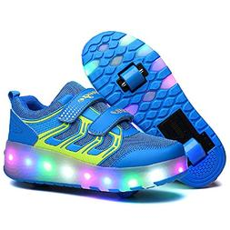 Nsasy YCOMI Girl's Boy's LED Roller Shoes with Wheels Roller