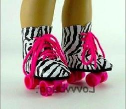 """White Roller Skates for American Girl 18"""" 18 inch Doll Shoe"""